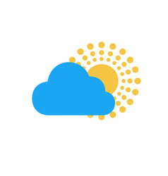 the sun and cloud summer icon circle rays vector image
