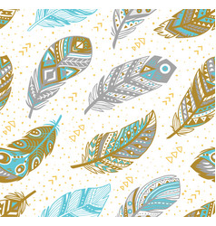 tribal feathers pattern in grey gold and blue vector image