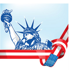 usa flag with statue liberty vector image