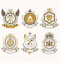 Vintage heraldic coat of arms designed in award vector