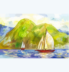watercolor sailboats on background green vector image