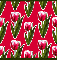 Watercolor tulips seamless background vector