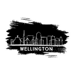Wellington skyline silhouette hand drawn sketch vector