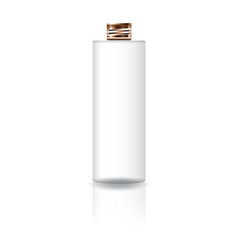 white cosmetic cylinder bottle with copper lid vector image