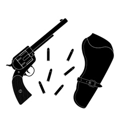 Wild west wood handle revolver with holster and vector image