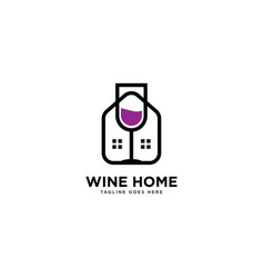 Wine home simple line logo template vector
