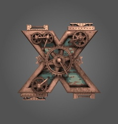 X rusted letter with gears vector