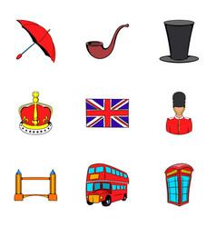 british kingdom icons set cartoon style vector image vector image