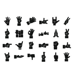 hand sign icon set simple style vector image
