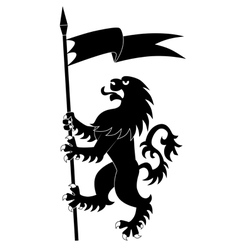 heraldic lion with flag vector image vector image
