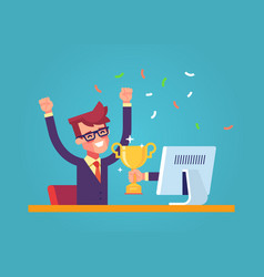 man got a award in the online contest from monitor vector image