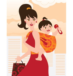 Active mother with baby girl in a sling vector image vector image