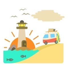 Holiday on car by sea concept flat style vector image vector image