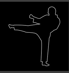 karate man the white path icon vector image vector image