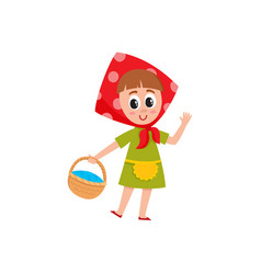 Little girl in babushka kerchief holding a basket vector