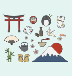 set of japanese symbols vector image vector image