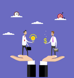 hands holds businessmen who buy idea vector image vector image