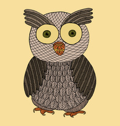 owl zendoodle zen tangle and doodle bird vector image