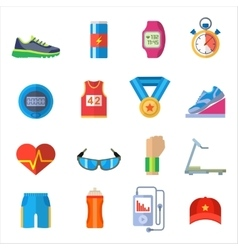 Run sport accessory icons set vector image