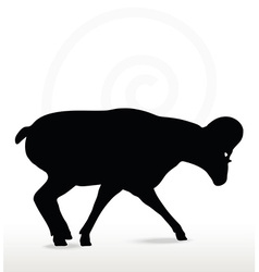 big horn sheep silhouette in down the hill pose vector image vector image