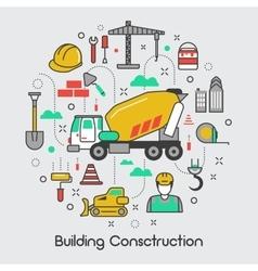 Building Construction Thin Line Art Icons Set vector image