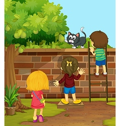 Children climbing up the wall vector image