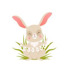 cute cartoon bunny in beads made from eggs sitting vector image vector image