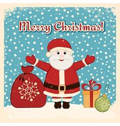 Retro Christmas card with happy Santa Claus vector image vector image