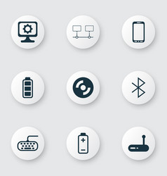 set of 9 computer hardware icons includes battery vector image vector image