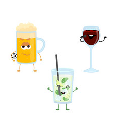 Set of funny characters from strong drinks vector