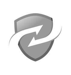 silver exchange modern shield symbol logo design vector image