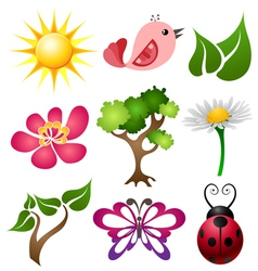 Spring symbol set vector image vector image