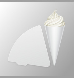 vwhite soft ice cream waffle cone in carton foil vector image vector image