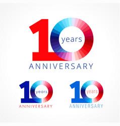 10 anniversary red blue logo vector