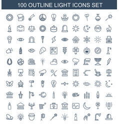 100 light icons vector image