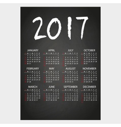 2017 wall calendar black blackboard with white vector