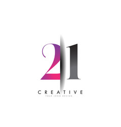 21 2 1 number logo with creative shadow cut design vector image
