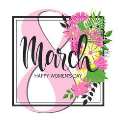8 march design with flowers international womens vector