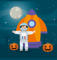 Astronaut man with rocket and happy pumpkin vector