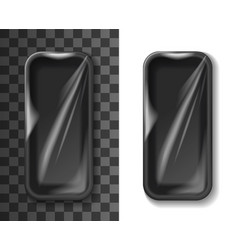 black foam tray plastic food box or container vector image