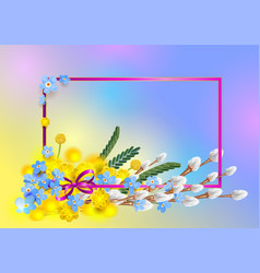 bouquet blue forget-me-not yellow mimosa and vector image