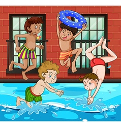 Boys diving and swimming in the pool vector