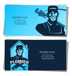 business card master plumber with wrench vector image