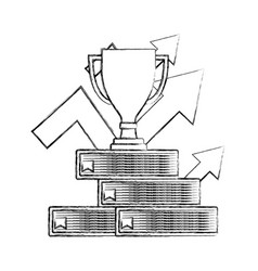 Business trophy on stacked books with up arrows vector