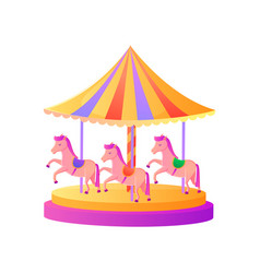 Carousel with pony pink horses attraction vector