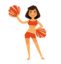 Cheerleader in orange uniform with pompons vector