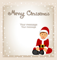 christmas card funny postcard with santa vector image