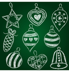 Christmas decorations - chalk on schoolboard vector image