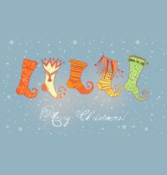 christmas greeting card with ornated christmas vector image