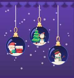 christmas new year ball santa claus with gift on vector image